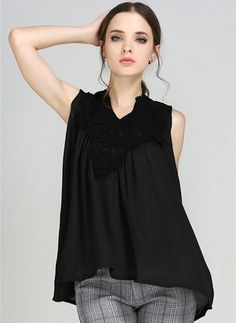 Solid Casual Cotton V-Neckline Sleeveless Blouses Sleeveless Outfit, Blouse Online, Blouse Styles, Blouses For Women, Men's Fashion, Neckline, Lady, Casual, Cotton