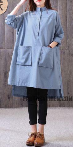 Plus Size Button Down Blue Shirt Women Cotton Linen Blouse S Iranian Women Fashion, Muslim Fashion, Hijab Fashion, Fashion Outfits, Fashion Boots, Stylish Dresses, Trendy Outfits, Linen Blouse, Denim And Lace