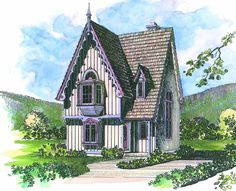 This Victorian home plan by guest designer Rod Pfotenhauer can be built as vacation retreat or used as fulltime residence for one or two. Gingerbread trim and intriguing window treatments accent nostalgic look. Lofty two-story ceiling