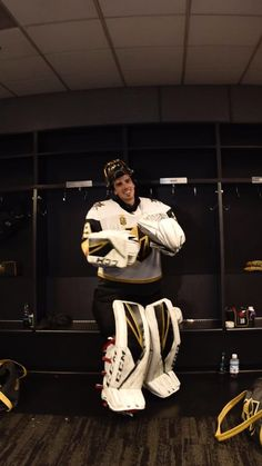 """""""Marc-Andre Fleury in the dressing room after tonight's shutout in Game Hockey Goalie, Hockey Teams, Ice Hockey, Golden Knights Hockey, Vegas Golden Knights, Hockey Boards, Marc Andre, Make Her Smile, Penguin S"""