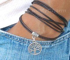 Boho LEATHER Wrap Bracelet w/ Tree of Life -Tibetan Style Triple Wrap Bracelet w/ Extension Dangle - Pick SIZE/COLOR - Made in Canada