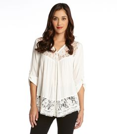 Rolled Sleeve Contrast Lace Blouse