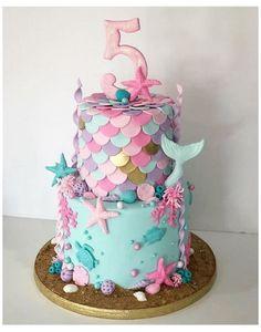 Little Girl Birthday Cakes, 5th Birthday Cake, Mermaid Birthday Cakes, Little Girl Cakes, Barbie Birthday Cake, Fondant Birthday Cakes, Mermaid Birthday Parties, Birthday Cake Girls Teenager, Birthday Ideas