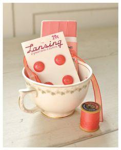 Vintage notions in a teacup