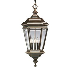 View the Progress Lighting P5574 Crawford Four-Light Cast Aluminum Outdoor Hanging Lantern with Clear Beveled Glass Panels at LightingDirect.com.
