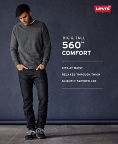 Levi's Men's Big and Tall 560 Comfort Fit Jeans - Blue 44x34