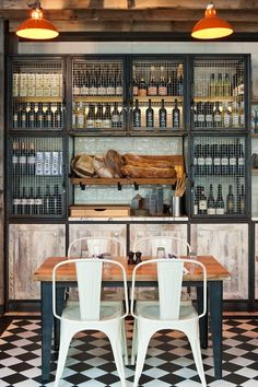 Industrial decor style is perfect for any interior. An industrial kitchen is… Restaurant Vintage, Design Bar Restaurant, Deco Restaurant, Italian Restaurant Decor, Industrial Restaurant Design, Restaurant Shelving, Restaurant Interiors, Design Café, Cafe Design