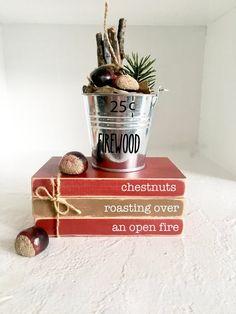 Christmas Books, Christmas Crafts, Christmas Decorations, Christmas Ideas, Stack Of Books, Mini Books, Farmhouse Kitchen Decor, Rustic Farmhouse, Roasted Chestnuts
