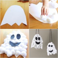 How to make Halloween ghosts out of cotton and paper for . - Halloween Make Up Ideen - How to make Halloween ghosts out of cotton and paper for . - Halloween Make Up Ideen - Theme Halloween, Halloween Arts And Crafts, Halloween Decorations For Kids, Halloween Crafts For Toddlers, Halloween Activities, Halloween Ghosts, Toddler Crafts, Halloween Costumes For Kids, Holiday Crafts