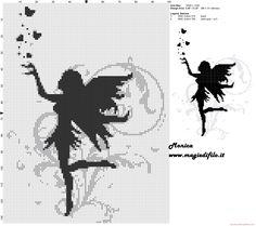 Black fairy cross stitch pattern - 3244x2876 - 2911696