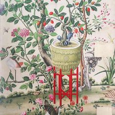 'Flower vase on stool with flowering tree' Wallpaper Mural from the V&A collection at Surface View Tree Wallpaper Mural, Gracie Wallpaper, Painting Wallpaper, Victorian Wallpaper, Antique Wallpaper, Chinese Wallpaper, Tile Murals, Victoria And Albert, Flowering Trees