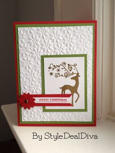 Dasher Poinsettia Holiday card by StyleDealDiva on Etsy, $3.00 made using Stampin' Up!'s Petals A Plenty embossing folder and the Boho Blossom punch