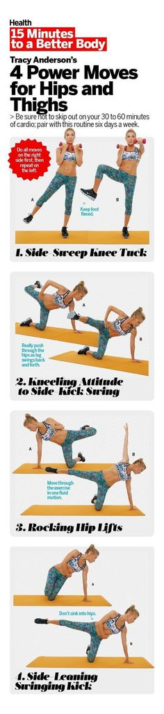 Slim and tone your hips, thighs, and belly with these strength moves from celebrity trainer, Tracy Anderson. These moves will prevent injury, and help eliminate stubborn lower-belly pooch and thigh jiggle.   Health.com