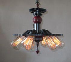Steampunk Light vintage industrial chandelier by Steampunklights, $395.00