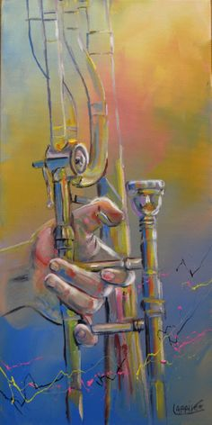 I love this, it's just like my trombone. It makes me fell at home. Trombone, Instruments, Music Studio Room, Jazz Art, Music Painting, Music Backgrounds, Music Wallpaper, Sewing Art, Beautiful Drawings