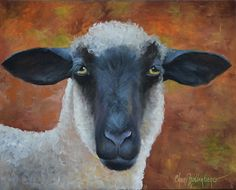 Sheep Animal Painting, Buster, 16x20 Original Oil on Canvas by Cheri Wollenberg