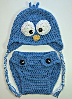 Baby Blue Bird Hat & Diaper Cover Set Gender di CathleensCrochet