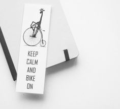 Keep Calm and Bike on Black and white Laminated by milkandhoney05, $5.00