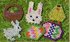 #Easter Melty Bead Shapes: See how to lay out the beads on our pegboards to make bunnies, chicks, eggs and Easter baskets #kidscrafts