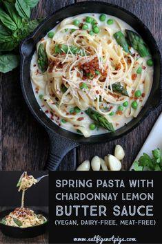 Spring Pasta with Chardonnay Lemon Butter Sauce (vegan, dairy-free)