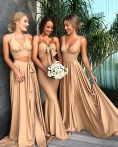 mismatched gold bridesmaid dresses , gold long formal party gowns 2018, #dresses