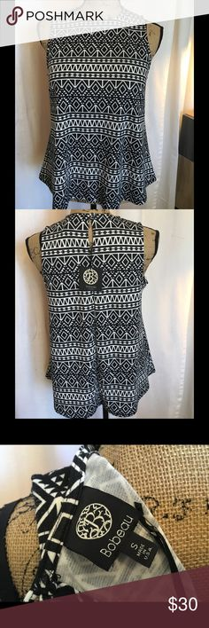 NWT bobeau Tribal Print Swing Top NWT swing style top with keyhole button close. 78% Poly 16% Rayon 6% Spandex. Hand wash. Bust 18.5 Length 24. bobeau Tops