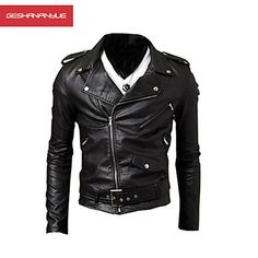 MANWAN WALK®Men's Side Zipper Motorcycle Leather Jacket – EUR € 30.99