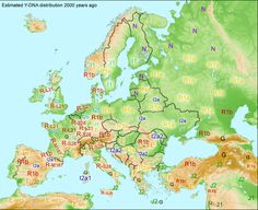 Hypothetical Y-DNA haplogroup map of Europe 2,000 years ago