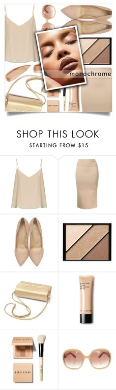 """Nude Monochrome"" by loloksage ❤ liked on Polyvore featuring Raey, Dion Lee, Charlotte Olympia, Elizabeth Arden, Bobbi Brown Cosmetics, MaxMara and Sisley"