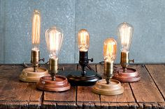 vintage style rustic table lamp with free vintage style bulb