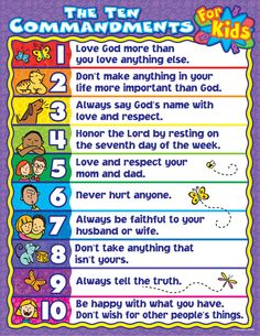 The Ten Commandments for kids, but I would do the actual verses from the Bible