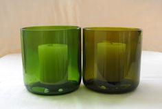 Shiraz - Set of 2 Recycled Wine Bottle Candleholders