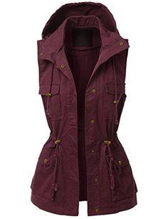 makeitmint Women's Anorak Military Utility Jacket Vest w/Drawstring Small Lightweight Rain Jacket, Safari Chic, African Safari, Utility Jacket, Vest Jacket, Vests, Military Jacket, Burgundy, Costumes