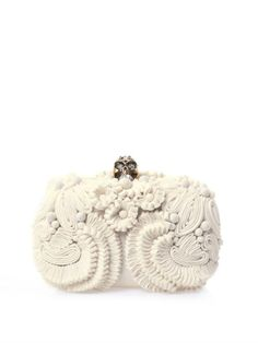 Glory skull 3D flower clutch | Alexander McQueen | MATCHESFASH...