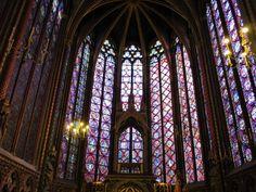 stained glass window Sainte Chapelle Paris, gothic stained glass window, interior Ste Chapelle Paris
