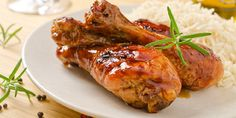 Photo about A plate of honey garlic glazed chicken drumsticks with rice. Image of drumstick, cuisine, glass - 27568714 Baked Curry Chicken, Glazed Chicken, Honey Garlic Chicken, Canned Chicken, Sticky Chicken, Can Chicken Recipes, Leftover Chicken Recipes, Easy Dinner Recipes, Delicious Recipes