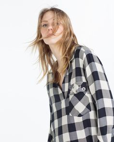 Image 3 of LOOSE CHECK BLOUSE from Zara