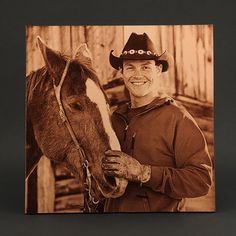 Laser Engraved Photo of Horse and Cowboy on Leathe