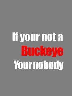 "It pains me to put this in my English fails folder. It should read ""If YOU'RE not a Buckeye YOU'RE nobody."""