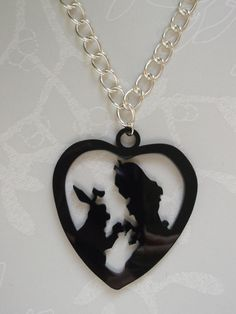 Alice and The Rabbit Black Laser Cut Necklace  £9.00