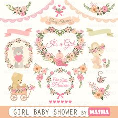 Baby shower clipart: Girl Baby Shower clipart with by MashaStudio