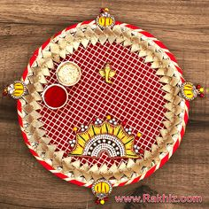 Pleasant Crafted Rakhi Pooja Thali with Divine Ganesha & with Roli Chawal Art N Craft, Craft Stick Crafts, Craft Work, Diy Home Crafts, Diy Crafts Videos, Decor Crafts, Oil Painting Tips, Painting Art, Indian Wedding Favors