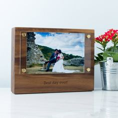 Personalised Wood Photo Block with Acrylic Frame | Create Gift Love £36  This beautiful solid walnut wood block frame can be personalised for all occasions. Ideal for fifth anniversaries.