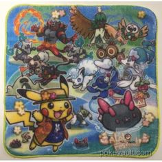 Pokemon Center 2017 Alola Festival Campaign Alola Vulpix Pyukumuku Primarina Incineroar Decidueye & Friends Mini Hand Towel (Version #2)
