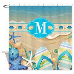 Beach Flip Flop Monogram Shower Curtain. Monogram Beach Flip Flops With  Coolu2026