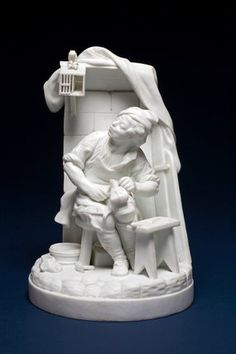 Cobbler whistling to his Starling, by Paul Louis Cyffle hard-paste biscuit porcelain, press-moulded in parts, and fired, height 23cm, diameter 15.3cm, circa 1780-1827.