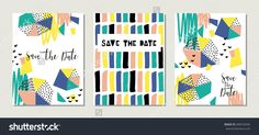 Collection of 3 cute card templates. Wedding, marriage, save the date, baby shower, bridal, birthday, Valentine's day. Stylish simple design. Vector illustration.