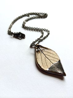 Small Gold Luster Dipped Ceramic Leaf by AlainaSheenDesigns