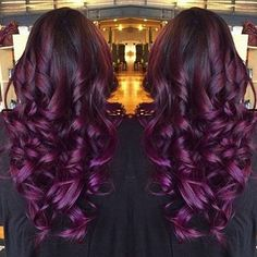 Top 20 Choices to DYE Your Hair Purple - Black Purple Ombre Hair Color, wonderful balayage hairstyle Dyed Hair Purple, Hair Color Purple, Burgundy Hair, Hair Colors, Dark Purple, Purple Wine, Curly Hair Styles, Natural Hair Styles, Hair Dos