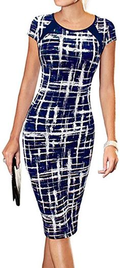 2f2d47e5e78 Women s Cocktail Dresses - LunaJany Women s Casual Striped Print Wear to  Work Office Career Sheath Dress at Women s Clothing store